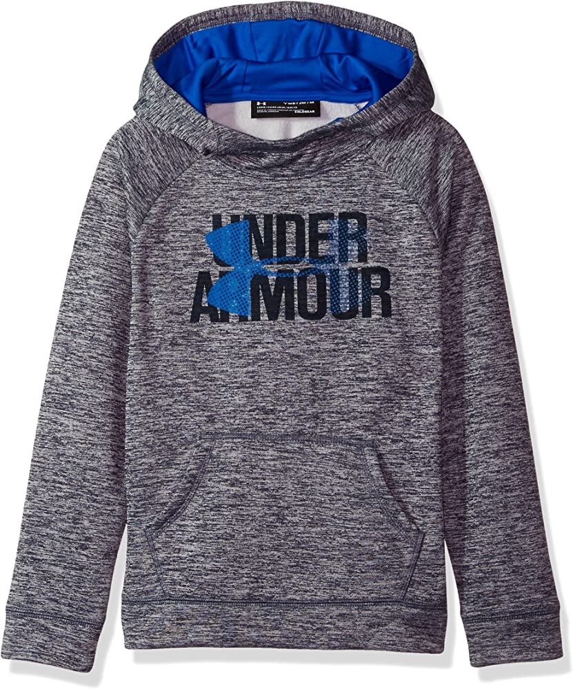 163c21109 Under Armour Girls' Armour Fleece Big Logo Printed Hoodie, Midnight Navy  (410)