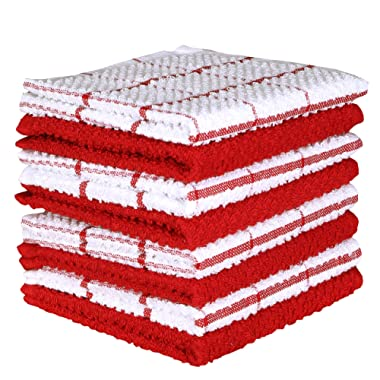 Terry Cotton Dishcloth Set of 8 ( 12 x 12 Inches ) , Red , 100 % Cotton , Highly Absorbent Kitchen Dish Cloths , Machine Washable By CASA DECORS