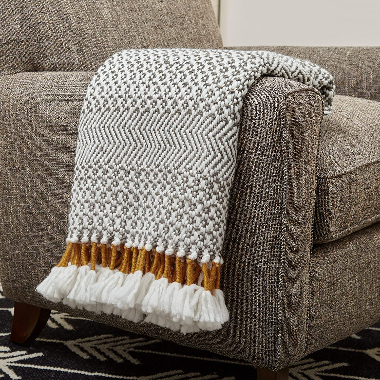 "Rivet Modern Hand-Woven Stripe Fringe Throw Blanket, Soft and Stylish, 50"" x 60"", Charcoal"