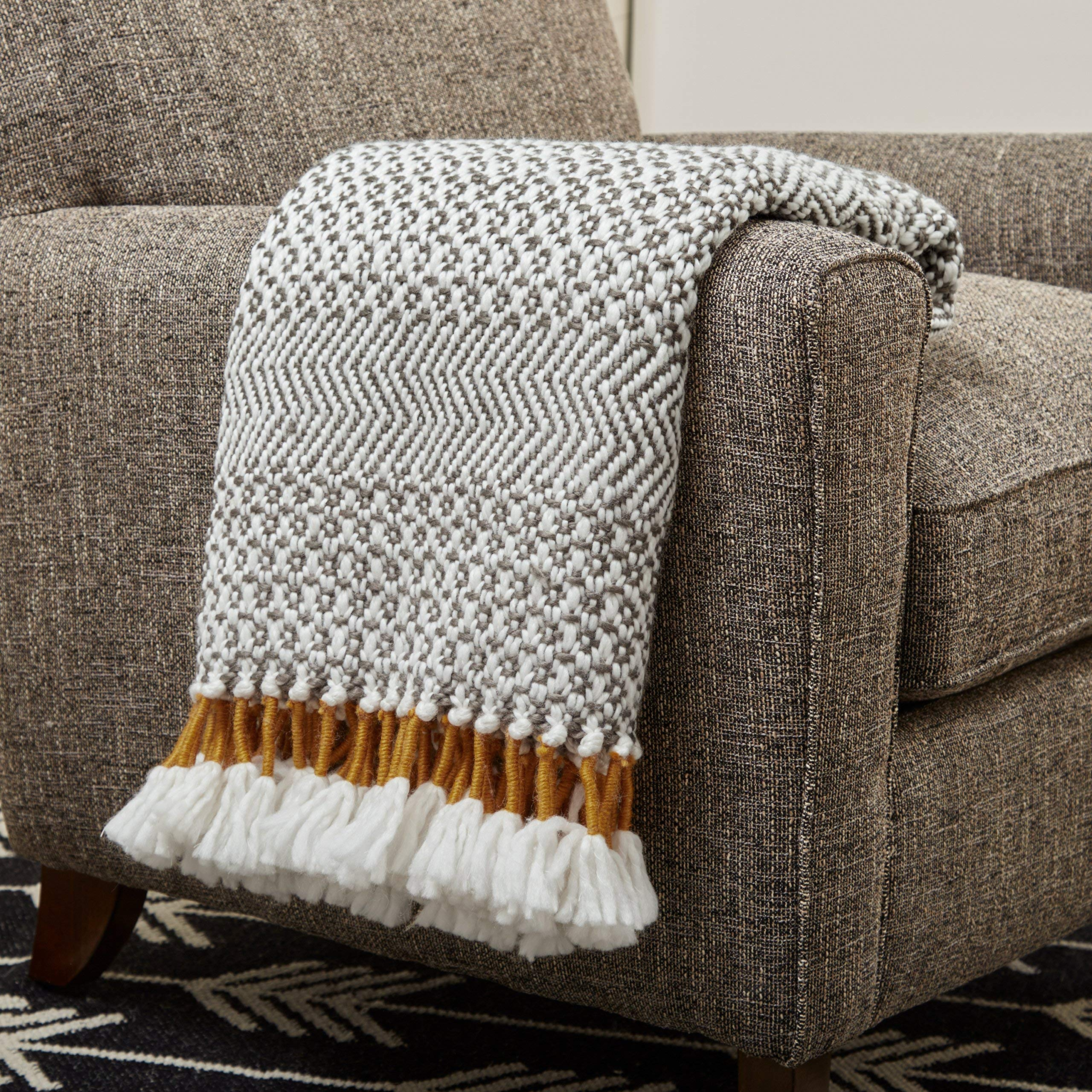 Rivet Modern Hand-Woven Stripe Fringe Throw Blanket, Soft and Stylish, 50'' x 60'', Charcoal by Rivet