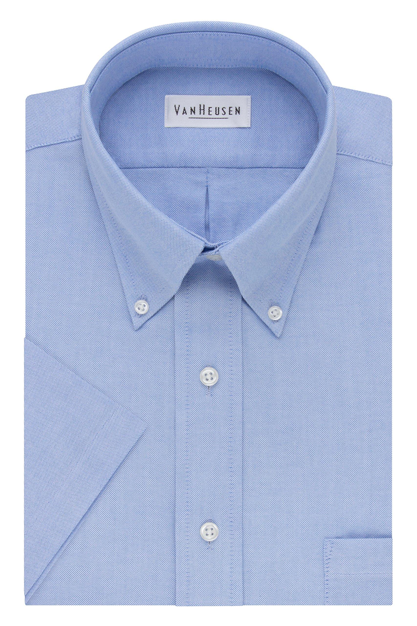 Van Heusen Men's Short-Sleeve Oxford Dress Shirt, Blue, 17.5''