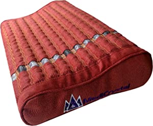 """Far Infrared Pillow - Natural Amethyst and Tourmaline Crystals - Negative Ions - FIR Rays - Non Electric - for Hot Stone Mats - Heating Pads - Sleep Better (20""""L x 12""""W x 4""""H Gentle, Reddish Brown)"""