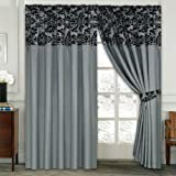 LUXURY Damask Curtains Pair Of Half Flock Pencil Pleat Window Curtain Fusion(TM) (90x90, grey)