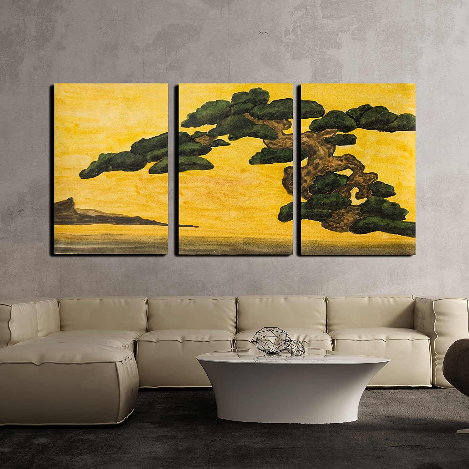 Hand Painted Picture Watercolours Pine Tree on Yellow Background x3 ...