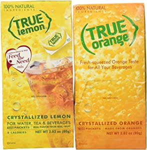 True Lemon and True Orange Dispenser Packets 100ct (2pk Variety) Natural Flavored Water Enhancer, Great Powdered Drink Mix for Paleo Diet, Atkin's Diet, or Other Diets. 100% Natural Drink Mix.