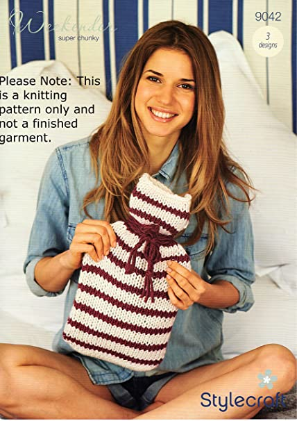 d74264c731b258 Stylecraft Weekender Super Chunky Knitting Pattern Hot Water Bottle Covers  9042  Amazon.co.uk  Kitchen   Home