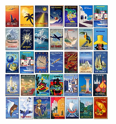 Vintage Air France Airlines equipaje etiquetas – Maleta viaje carteles Retro Pack de 35 pegatinas de