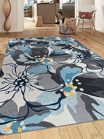 Modern Large Floral Non Slip Non Skid Area Rug 8 X 10 7 10 X 10 Gray Blue Furniture Decor