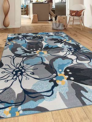 """Modern Large Floral Non-Slip (Non-Skid) Area Rug 8 x 10 (7' 10"""" x 10') Gray-Blue"""