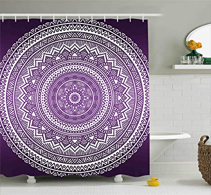 Ambesonne Purple Shower Curtain Ombre Mandala Art Print Vibrant Floral Pattern Boho Hippie Inspired Design