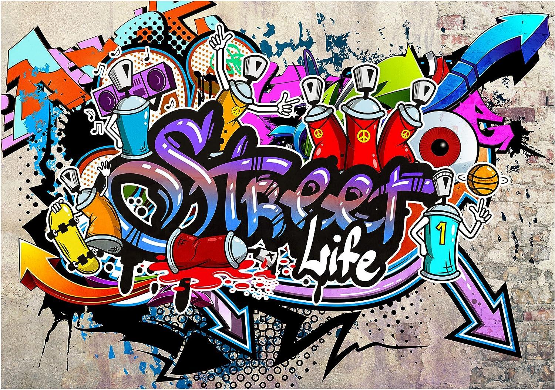 Papier peint intiss/é Graffiti 200x140 cm Trompe l oeil D/éco Mural Tableaux Muraux Photo Street Art Brique Mur de Pierre decomonkey