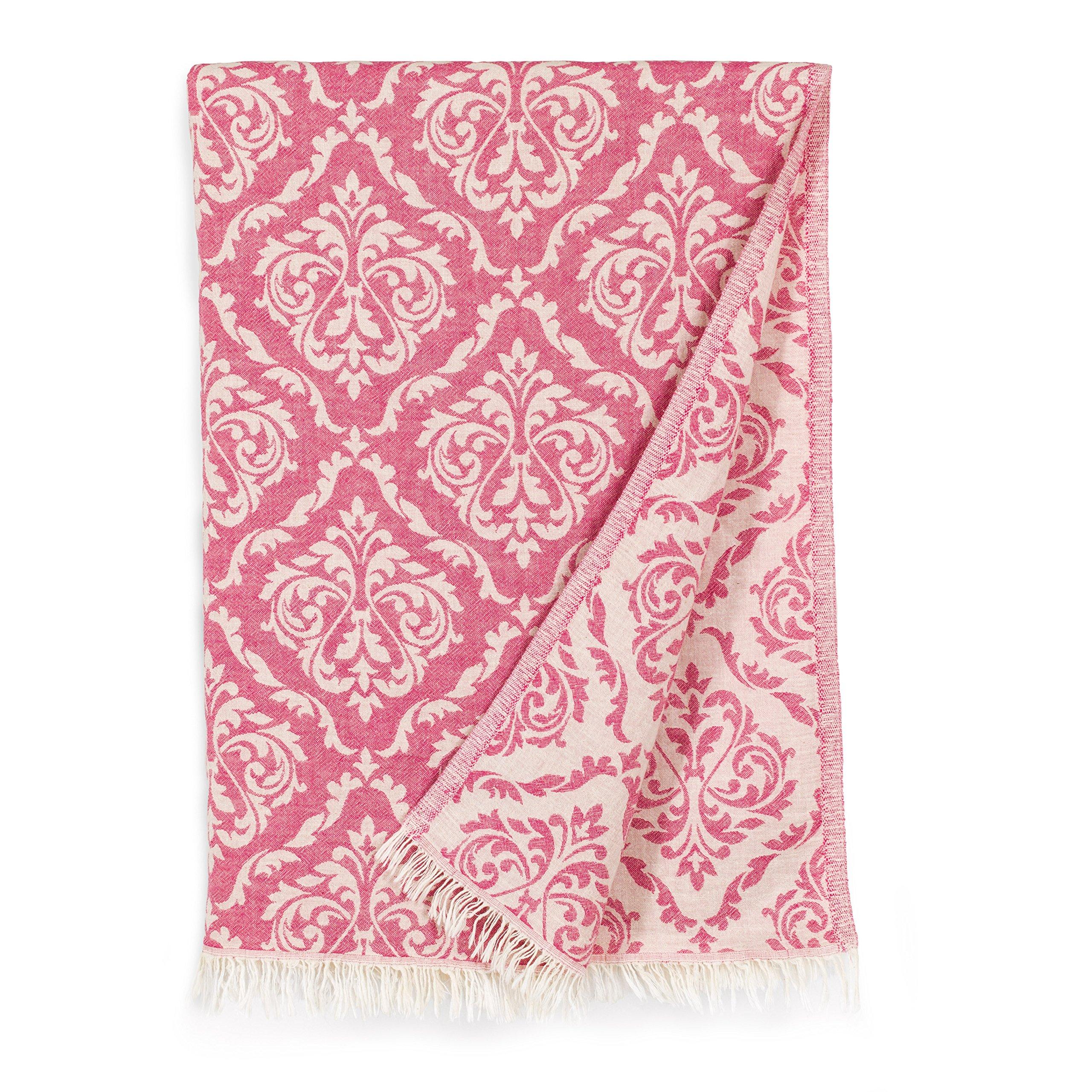 Linum Home Textiles Damask Delight Pestemal Beach Towel, Pink