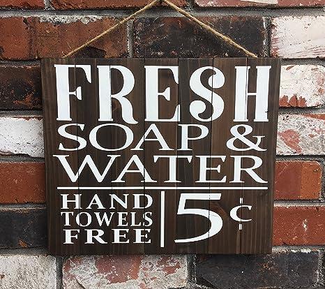 Letrero de madera para baño, jabón fresco y agua, 5 centes, libre de