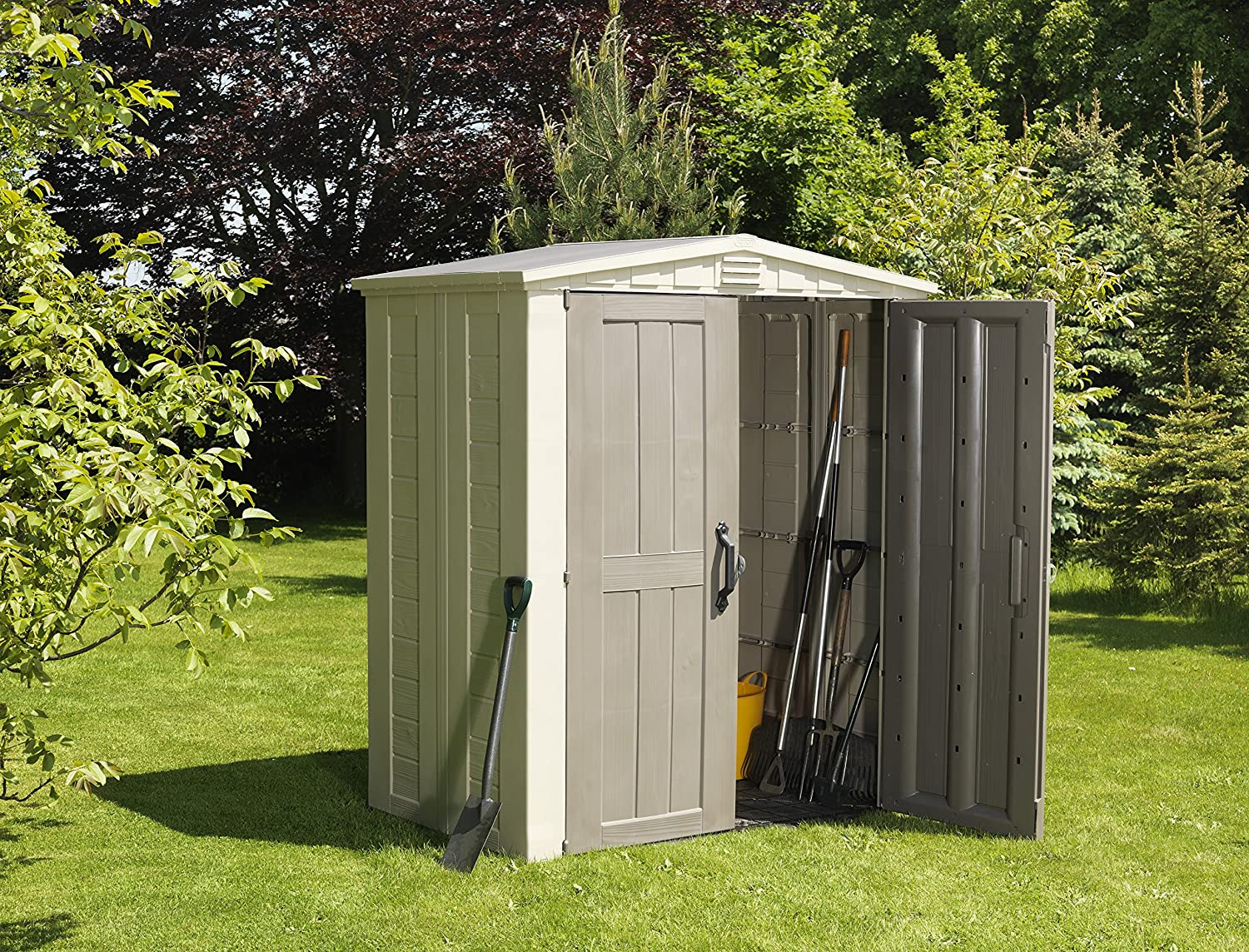 keter factor plastic outdoor garden storage shed 6 x 3 feet beige amazoncouk kitchen home