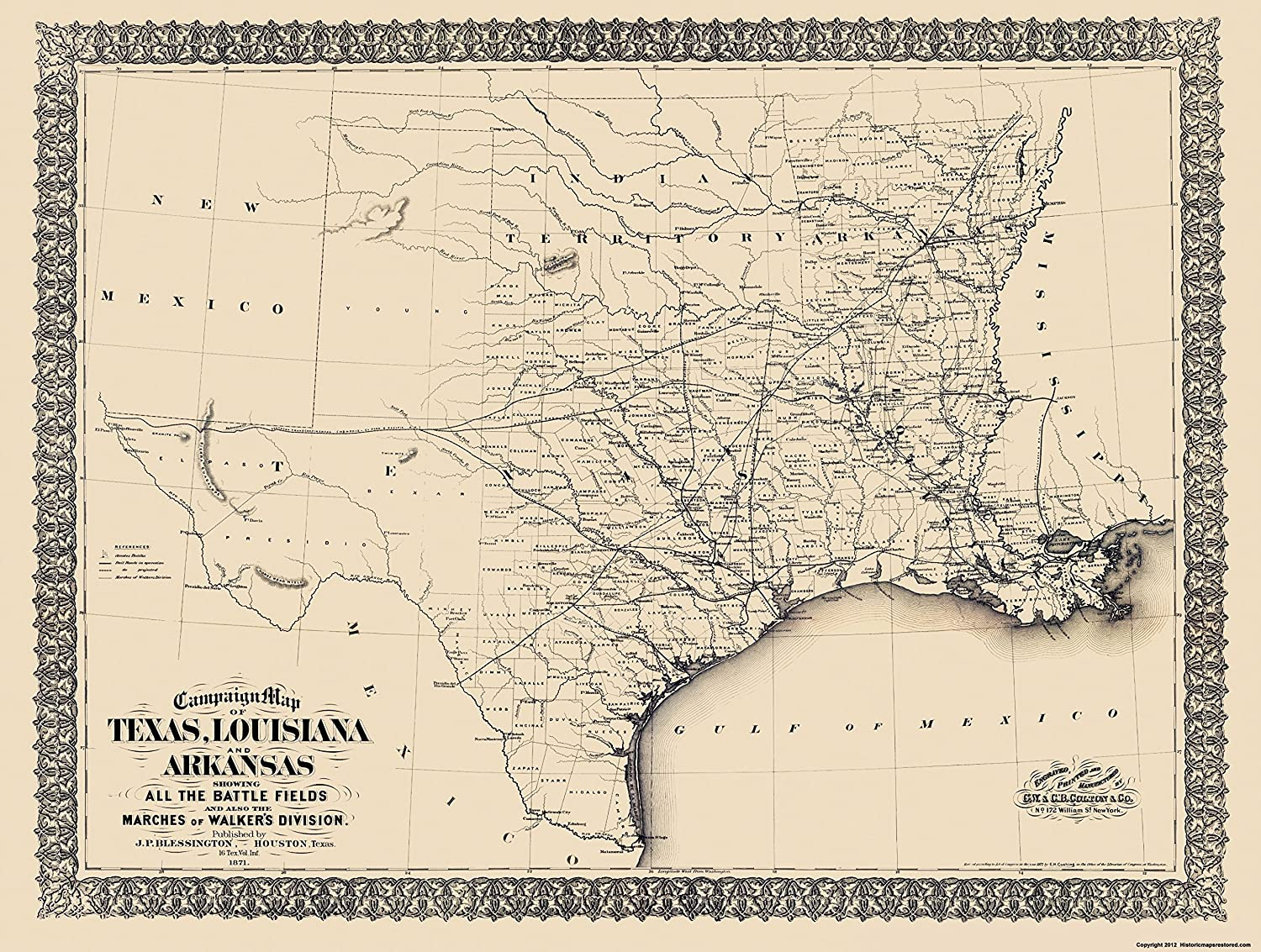 Map Of Texas And Louisiana Border.Amazon Com Civil War Map Print Texas Louisiana Arkansas