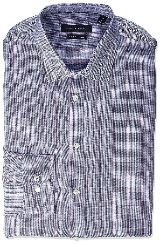 Tommy Hilfiger Mens Dress Shirt Stretch Slim Fit Checks