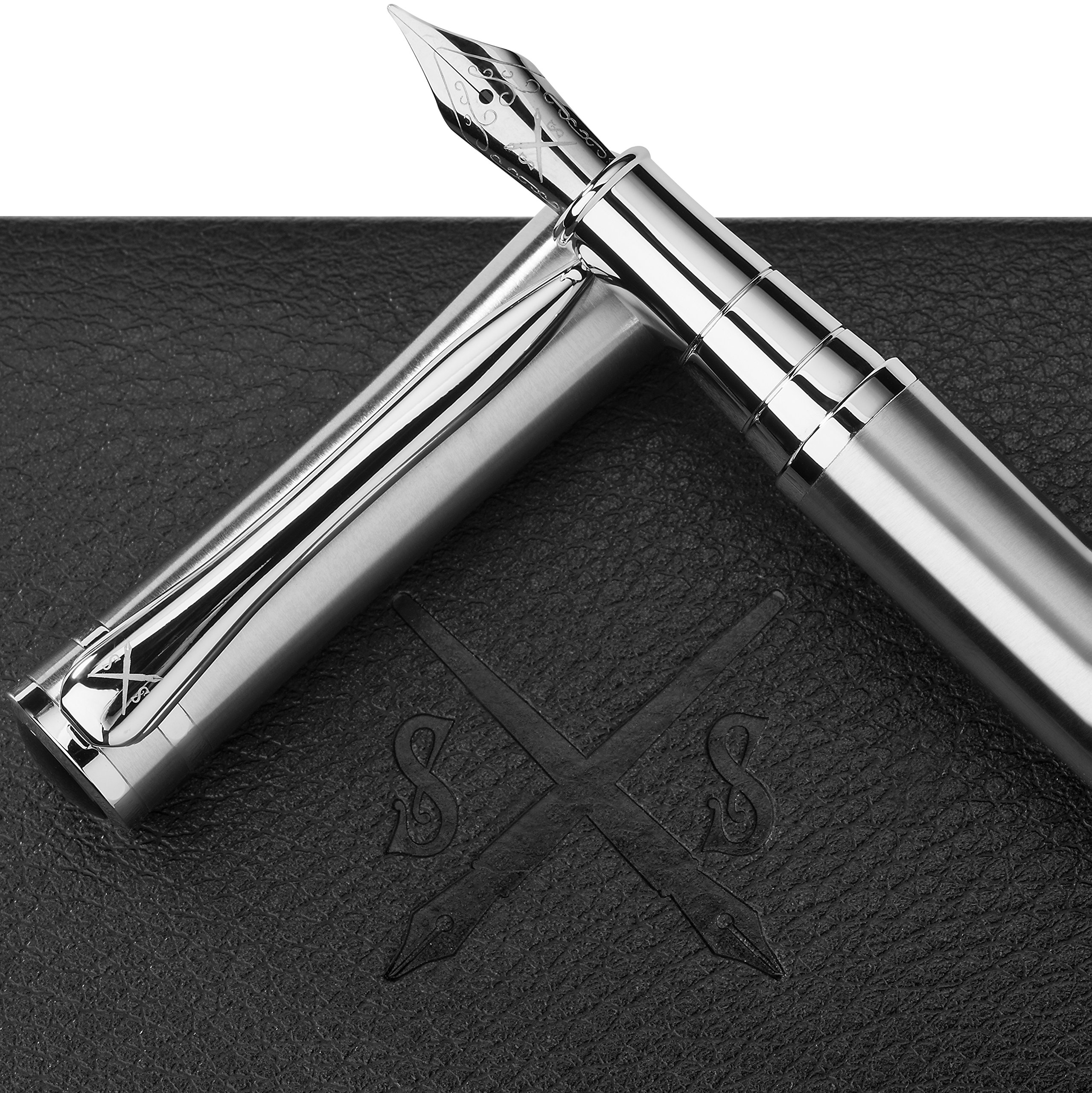 Scribe Sword Fountain Pen with Ink - Calligraphy Pens for Writing - Designer Gift Set - Medium Nib - A Business Executive Fountain Pen and Case - Instructions Included by Scribe Sword (Image #1)