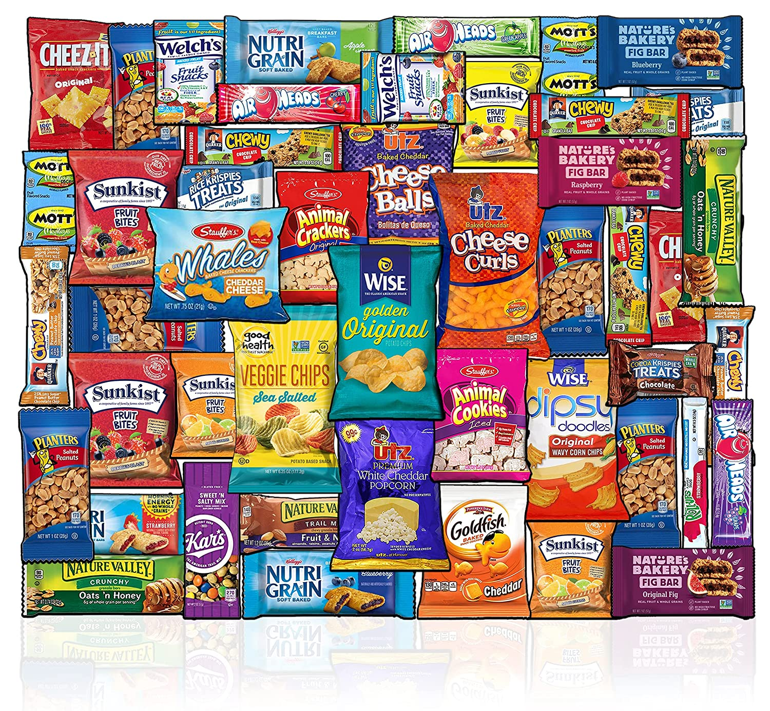Care Package (53 Count) Snacks Food Cookies Chocolate Bar Chips Candy Ultimate Variety Gift Box Pack Assortment Basket Box Bundle Mix Bulk Sampler College Students Office