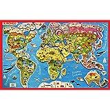 Puzzle Mappa Magnetica Illustrata del Mondo in Legno 58x36 Appendibile - Anni +6