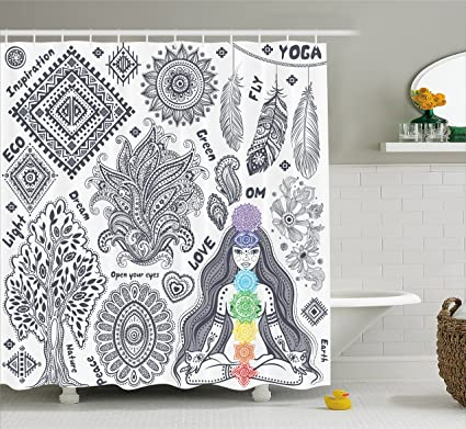 Yoga Shower Curtain By Ambesonne Indian Elements Bohemian Style