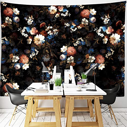 Third Goddess Tapestry Floral Wall Hanging Wild Black Flower Tapestry, Home Decor Gift 70 x 90 inches