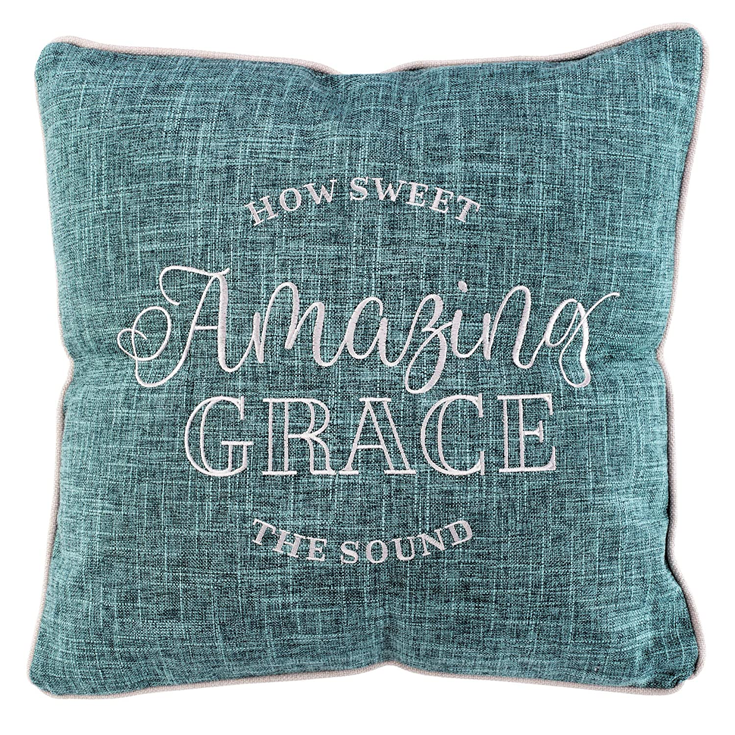 Sensational Christian Art Gifts Amazing Grace Embroidered Square Decorative Pillow In Teal Dailytribune Chair Design For Home Dailytribuneorg