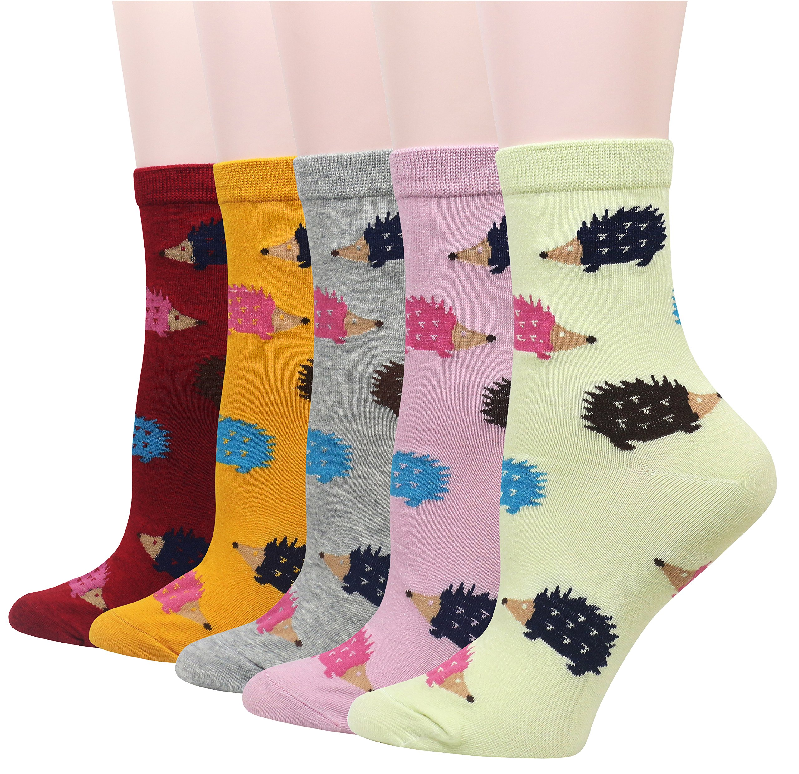 Wish Island Women's 5 Packs Cotton Crew Socks (Hedgehog)