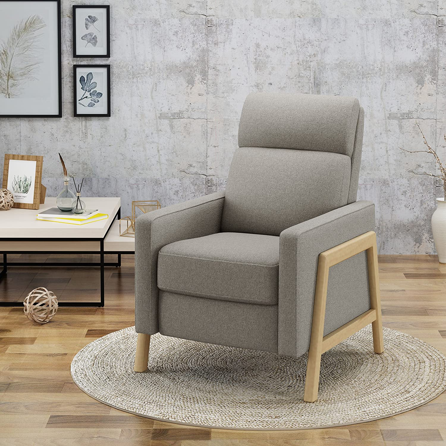 Amazon com great deal furniture chris mid century modern fabric recliner in beige kitchen dining