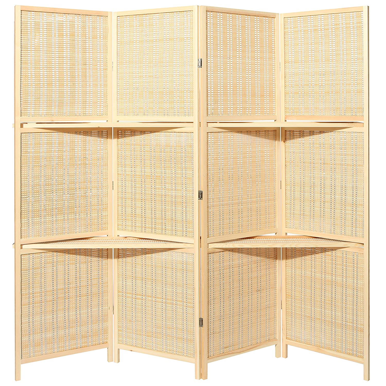 amazoncom deluxe woven beige bamboo 4 panel folding room divider screen w removable storage shelves kitchen u0026 dining