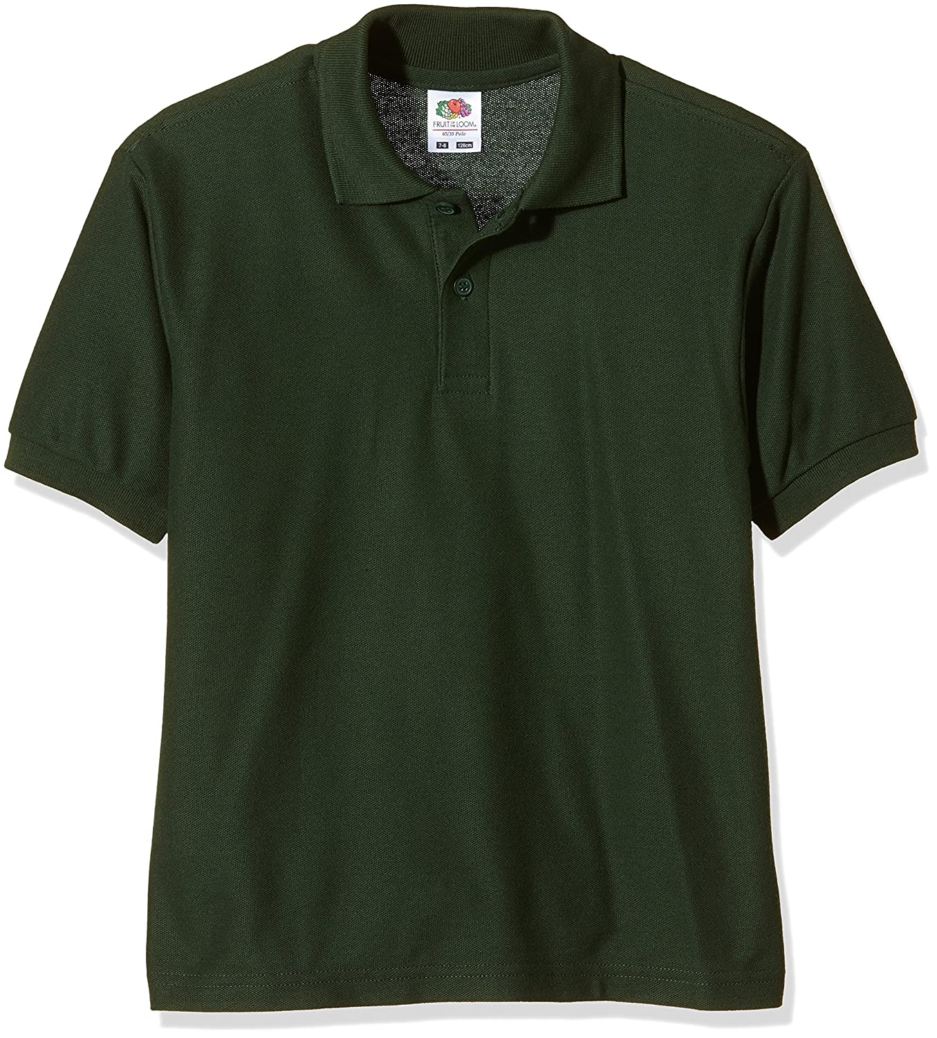 Fruit of the Loom childs 65//35 pique polo shirt Bottle Green age 14 to 15
