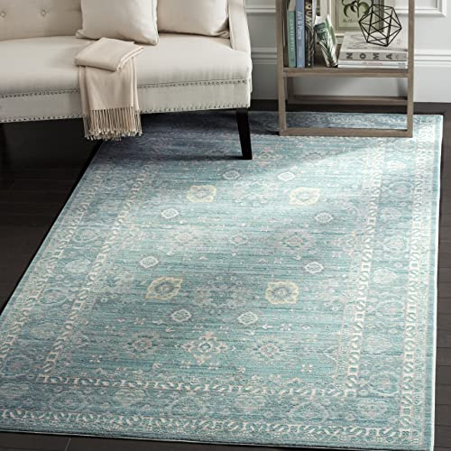 Safavieh Valencia Collection VAL110B Alpine and Multi Vintage Distressed Silky Polyester Area Rug 8 x 10