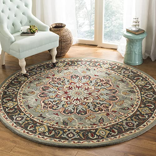 Safavieh Heritage Collection HG736A Grey and Charcoal Round Area Rug 6 in Diameter