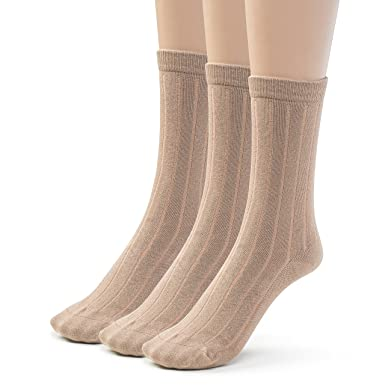 b798bb87757d4 Silky Toes Girl Boys School Crew Socks Bamboo, Ribbed (3-6 Pairs): Amazon.co .uk: Clothing