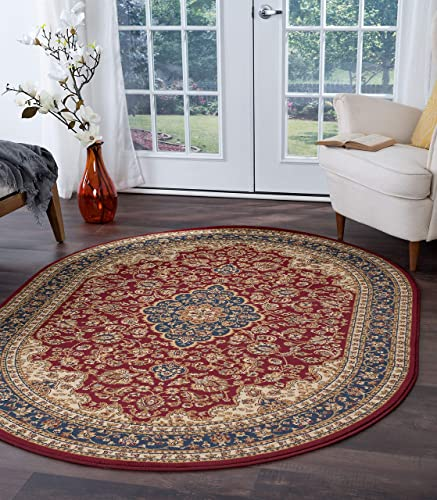 Kirsten Traditional Oriental Red Oval Area Rug