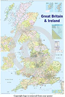 Motorway Map Of England.United Kingdom Uk Road Wall Map Clearly Shows Motorways Major