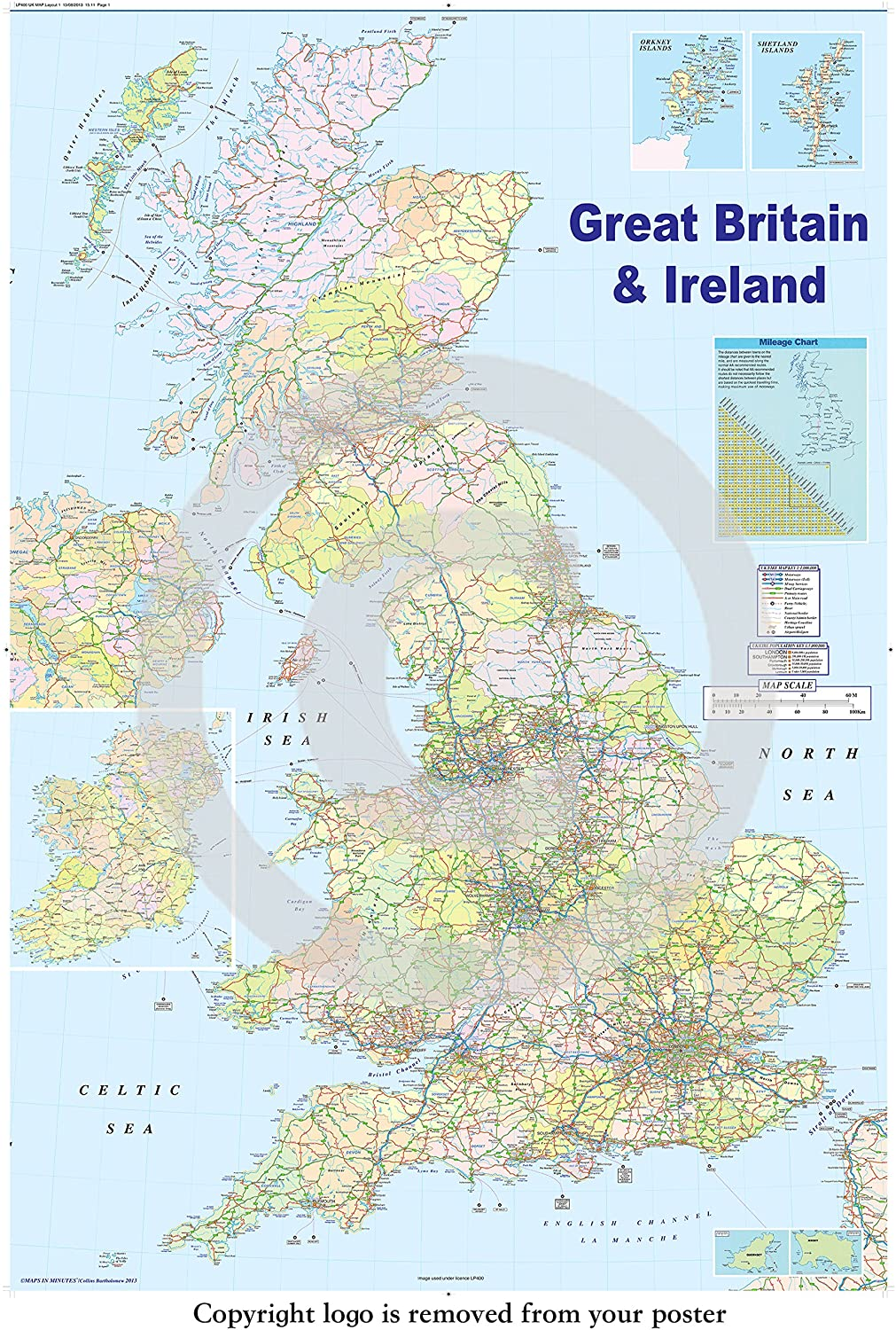 HUGE LAMINATED  ENCAPSULATED Map Of The UK British Isles GB Road