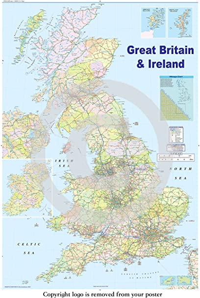 graphic about Door County Map Printable named Massive LAMINATED / ENCAPSULATED Map Of The British isles British Isles GB Highway Map POSTER Actions 36 x 24 inches (91.5 x 61 cm)