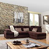 Classic Large Brush Microfiber L-Shape Sectional Sofa Couch with Chaise Lounge (Brown)
