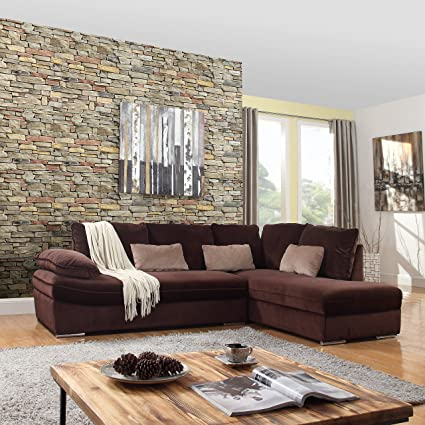 Classic Large Brush Microfiber L Shape Sectional Sofa Couch With Chaise  Lounge (Brown)