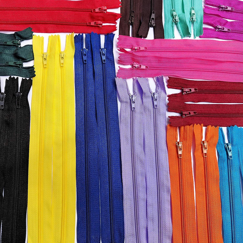 KGS Nylon Fermeture /éclair Zippers pour lartisanat de Couture 20 pi/èces//Paquet 20 Couleurs Uniques 9 Pouces // 23 cm