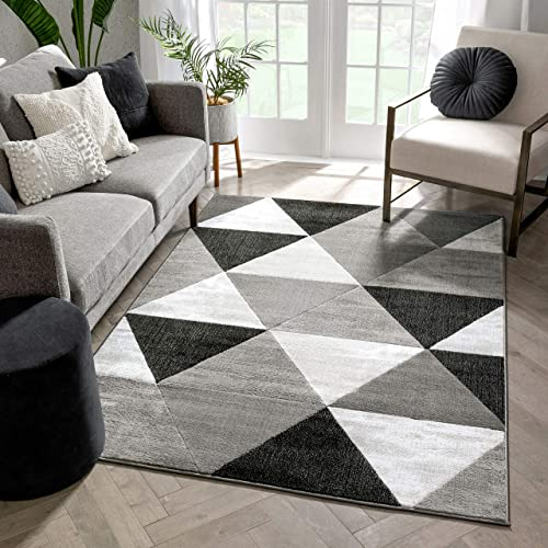 Well Woven Arlo Tiles Grey Modern Triangle Pattern 5 x 7 5' x 7'2'' Area Rug Abstract Geometric Carpet