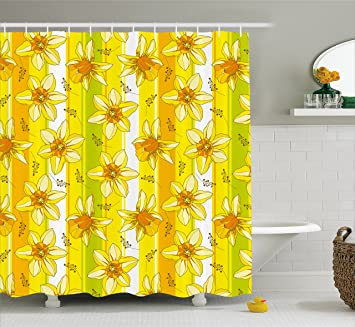Amazon yellow flower shower curtain by ambesonne floral spring yellow flower shower curtain by ambesonne floral spring narcissus and daffodil jonquil blooms striped backdrop mightylinksfo