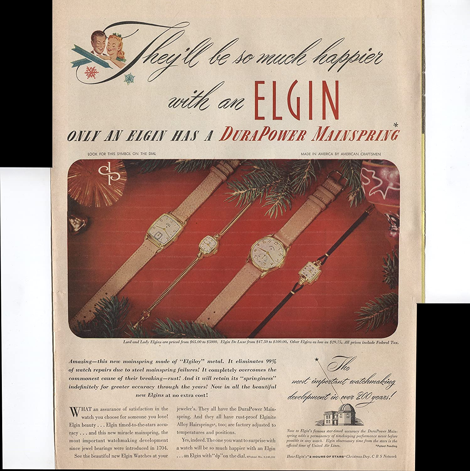 amazoncom elgin watches theyll be so much happier with an elgin only an elgin has a durapower mainspring eliminates watch repairs 1947 vintage antique