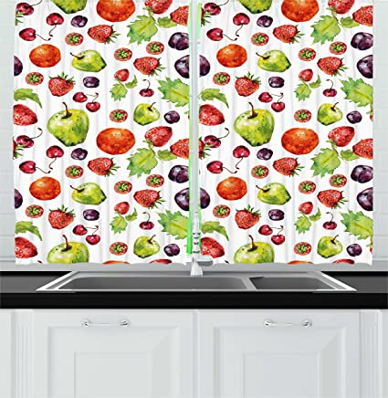 Ambesonne Kitchen Decor Kitchen Curtains, Strawberries Pear Cherries Leaves  Plums Apples Peach Pattern Image Artwork