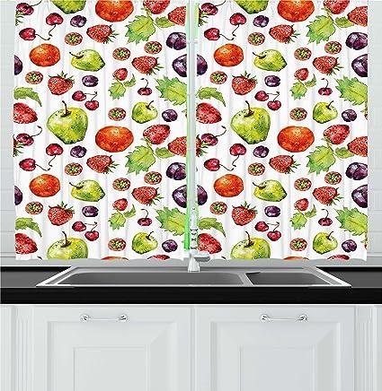 Amazon.com: Ambesonne Fruit Kitchen Curtains, Strawberries ...