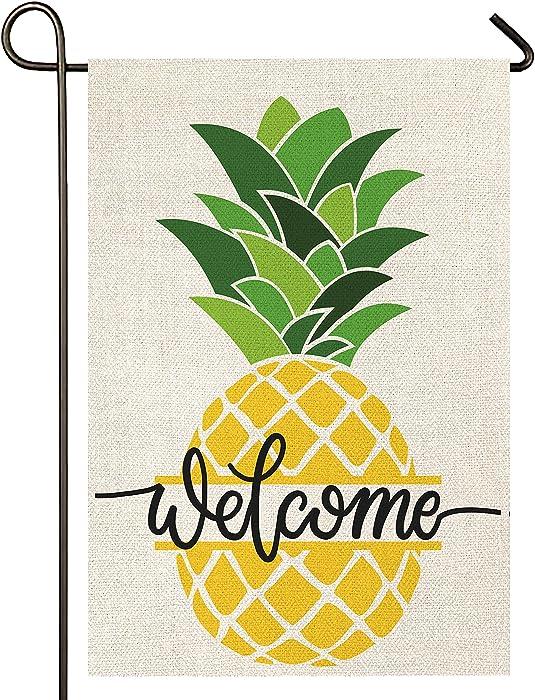 Atenia Burlap Welcome Pineapple Garden Flag, Double Sided Garden Outdoor Yard Flags for Summer Decor (Garden Size - 12.5X18)