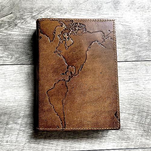 Amazon refillable world map handmade leather journal travel refillable world map handmade leather journal travel journal embossed high quality diary soft gumiabroncs Choice Image