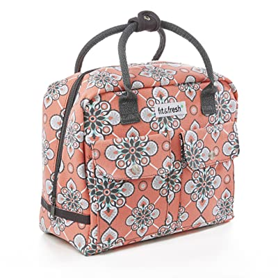 Fit & Fresh Molly Small Backpack, Lunch Bag for Women/Girls, Insulated Daypack for Travel and Work, Coral Paisley Quilt