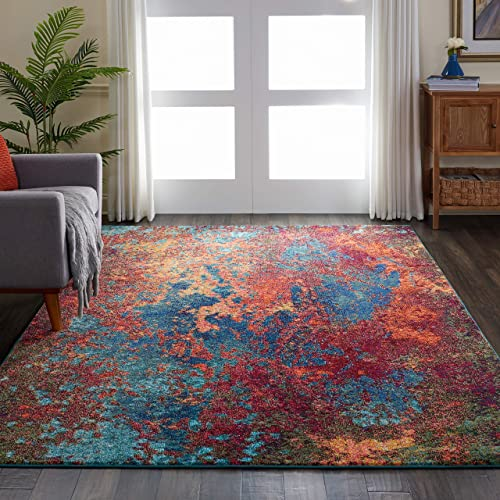 Nourison Celestial Blue and Red Colorful Area Rug 6 7 x 9 7 , 6 7 X9 7 , ATLANTIC
