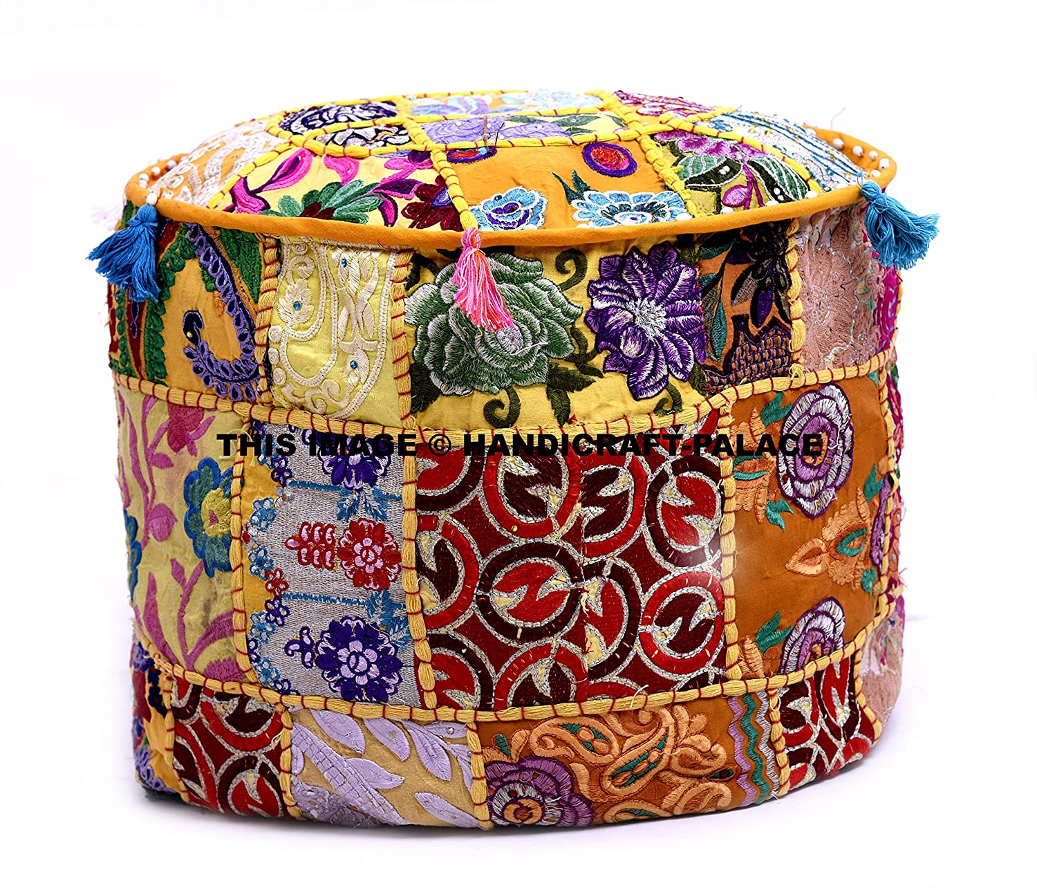 Beautiful Bohemian Patch Work Ottoman Cover,Traditional Vintage Indian Pouf Floor/Foot Stool, Christmas Decorative Chair Cover,100% Cotton Art Decor Cushion By Handicraft-Palace POSS-3